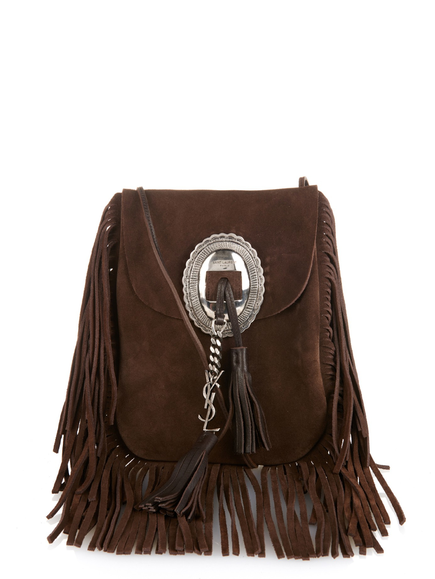 2df76e9e56a2 Lyst - Saint Laurent Anita Suede Fringed Shoulder Bag in Brown