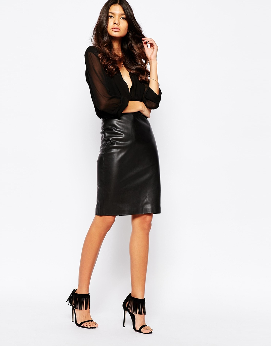 Mango Leather Look Pencil Skirt - Black in Black | Lyst