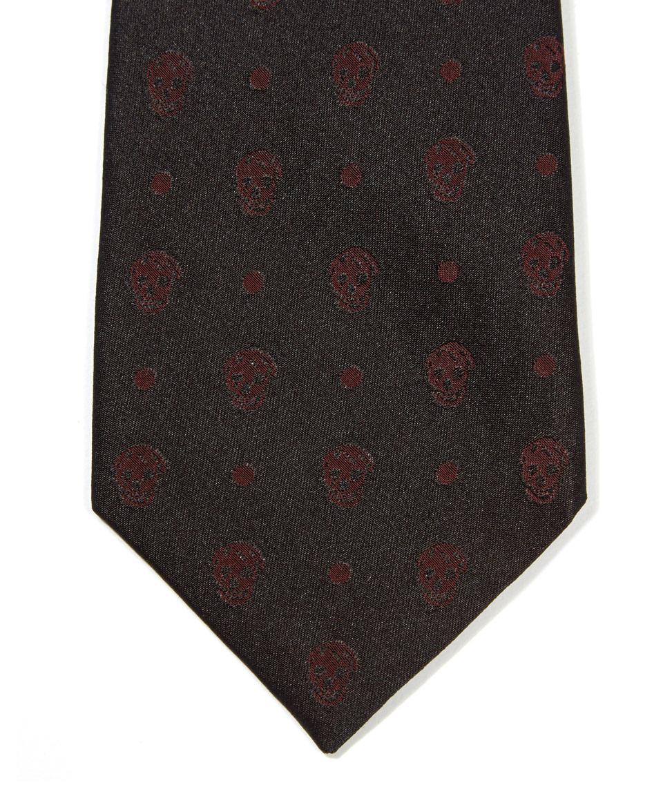 mcq red skull dot silk tie in red for men