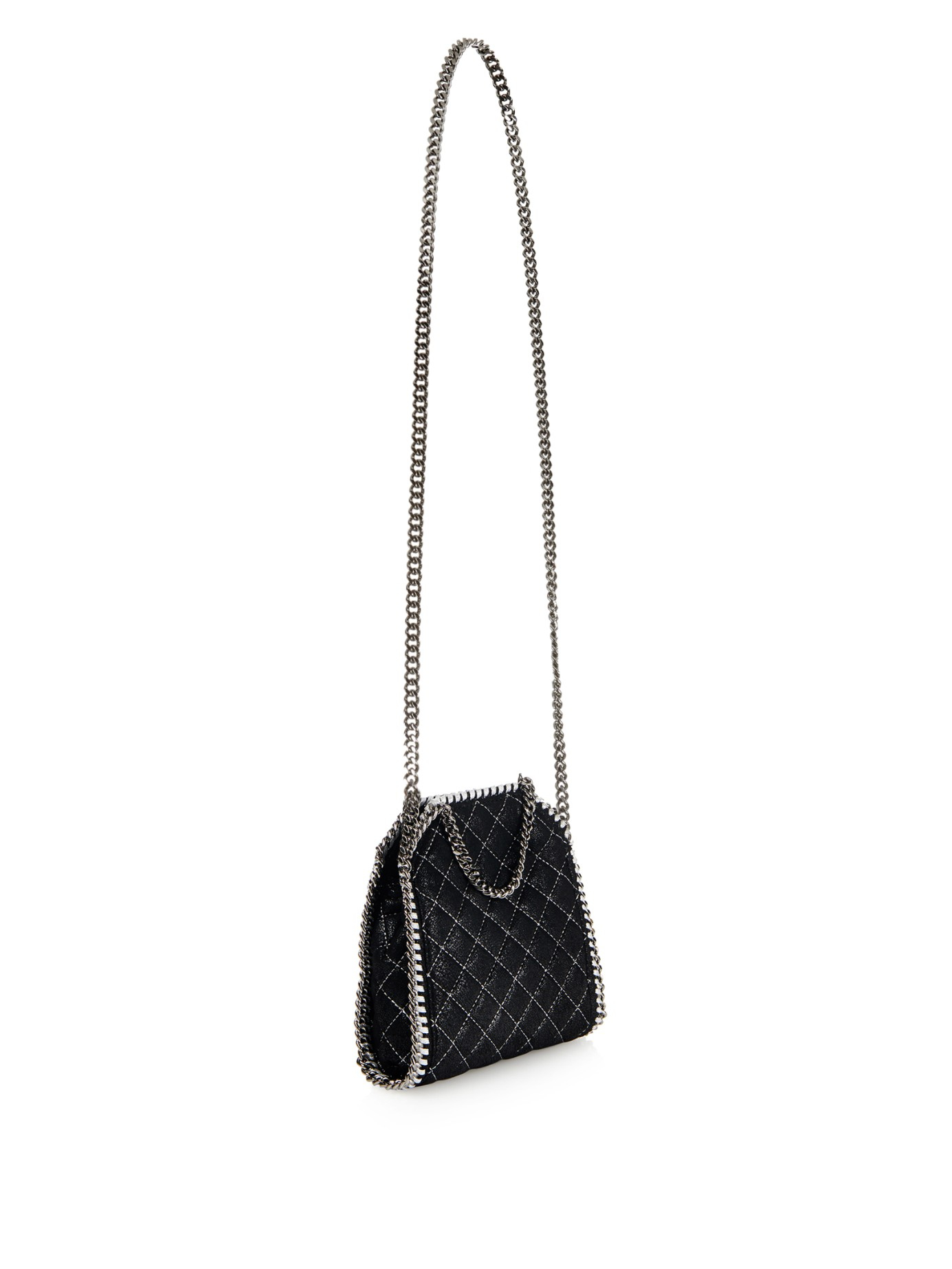Lyst - Stella McCartney Falabella Tiny Quilted Cross-body Bag in Black 7f1b19826cf4a