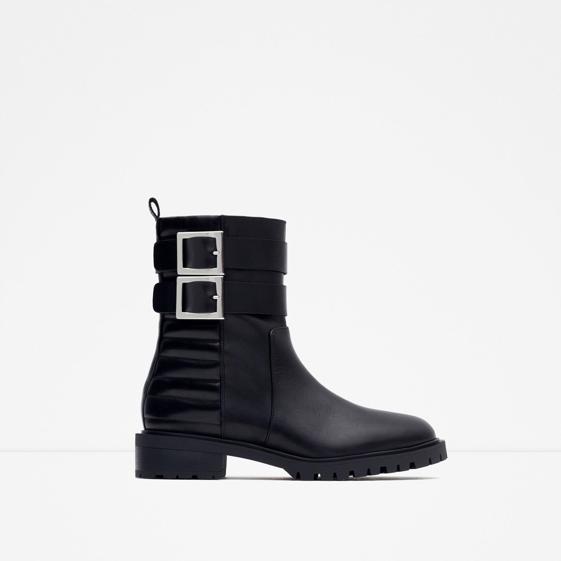 Zara Flat Leather Biker Ankle Boots in Black | Lyst