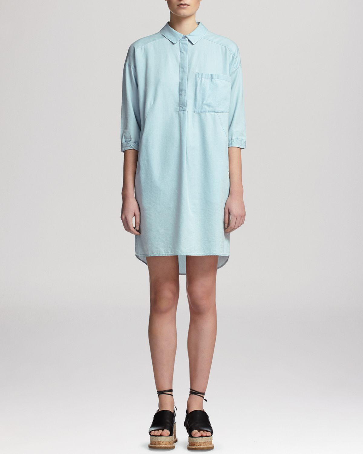 Whistles dress oversized chambray shirt in blue lyst for Chambray dress