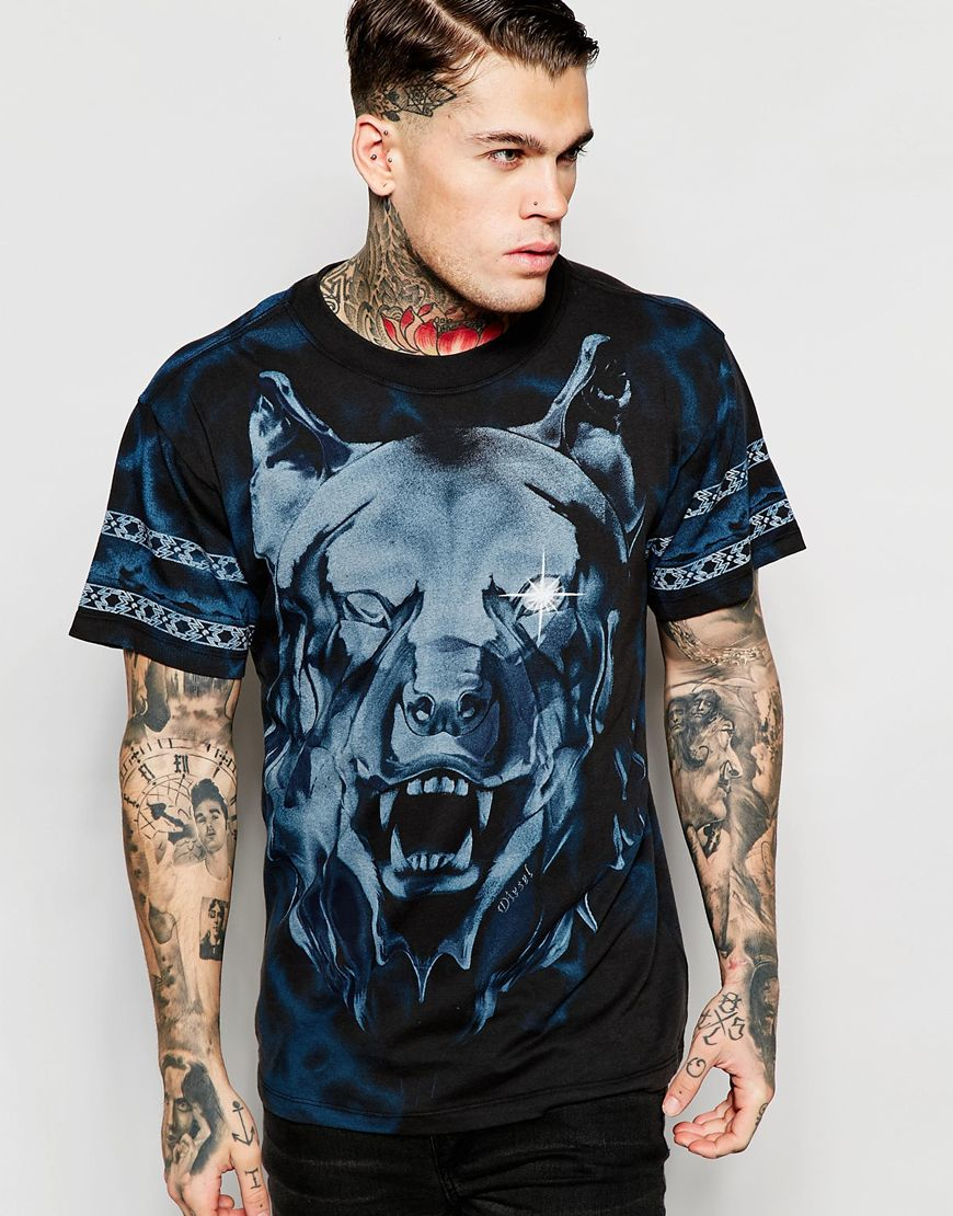 Diesel T Shirt T Wallace C Crewneck All Over Wolf Print In