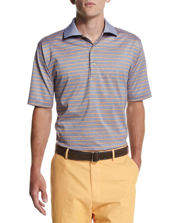 Peter millar charlie contrast stripe polo shirt in blue for Peter millar polo shirts