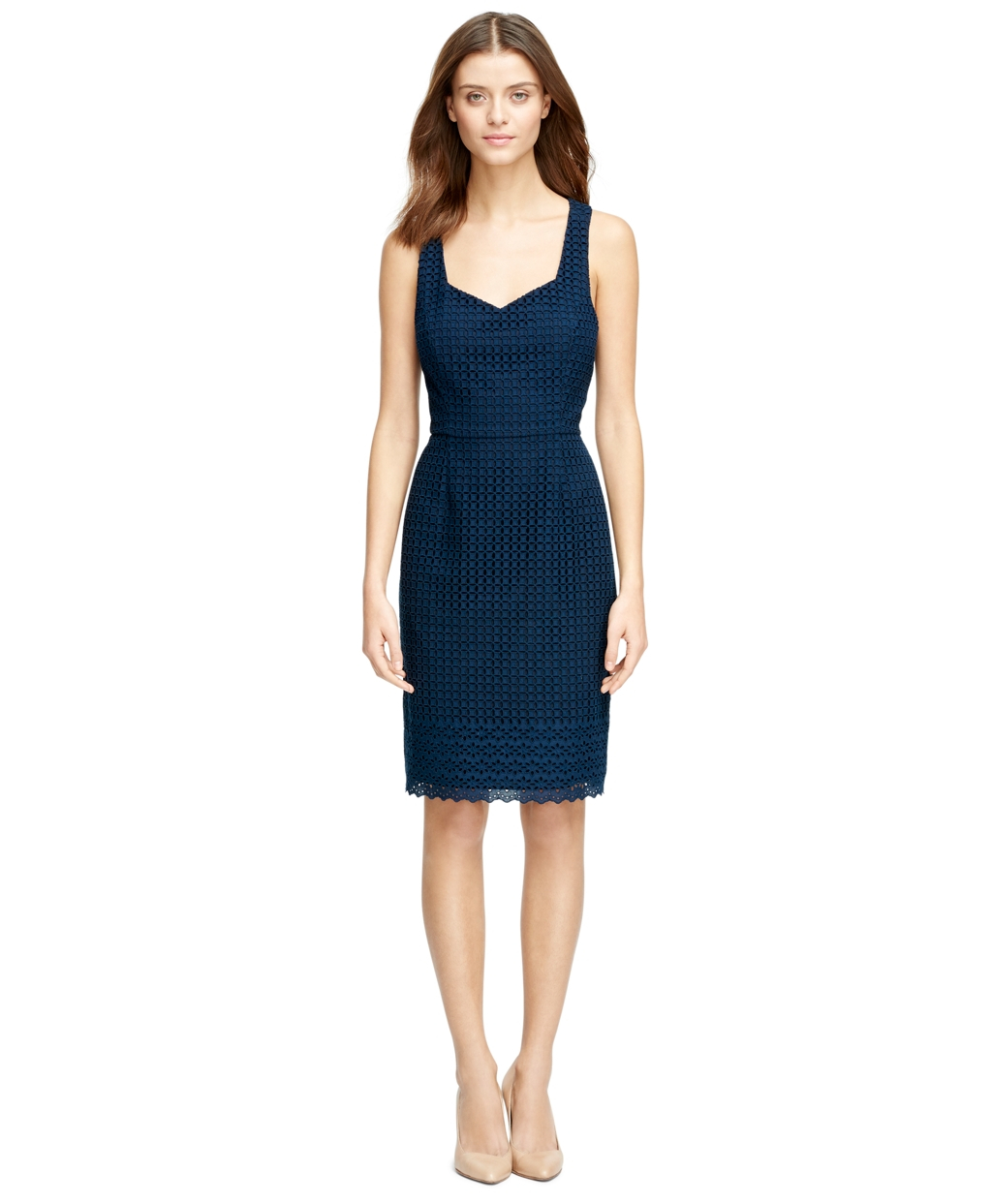 Brooks brothers Cotton Eyelet Dress in Blue | Lyst