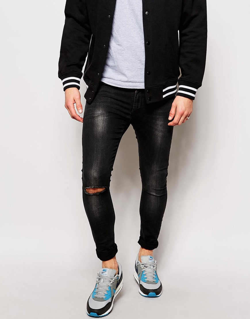 asos extreme super skinny jeans with rip in black for men. Black Bedroom Furniture Sets. Home Design Ideas