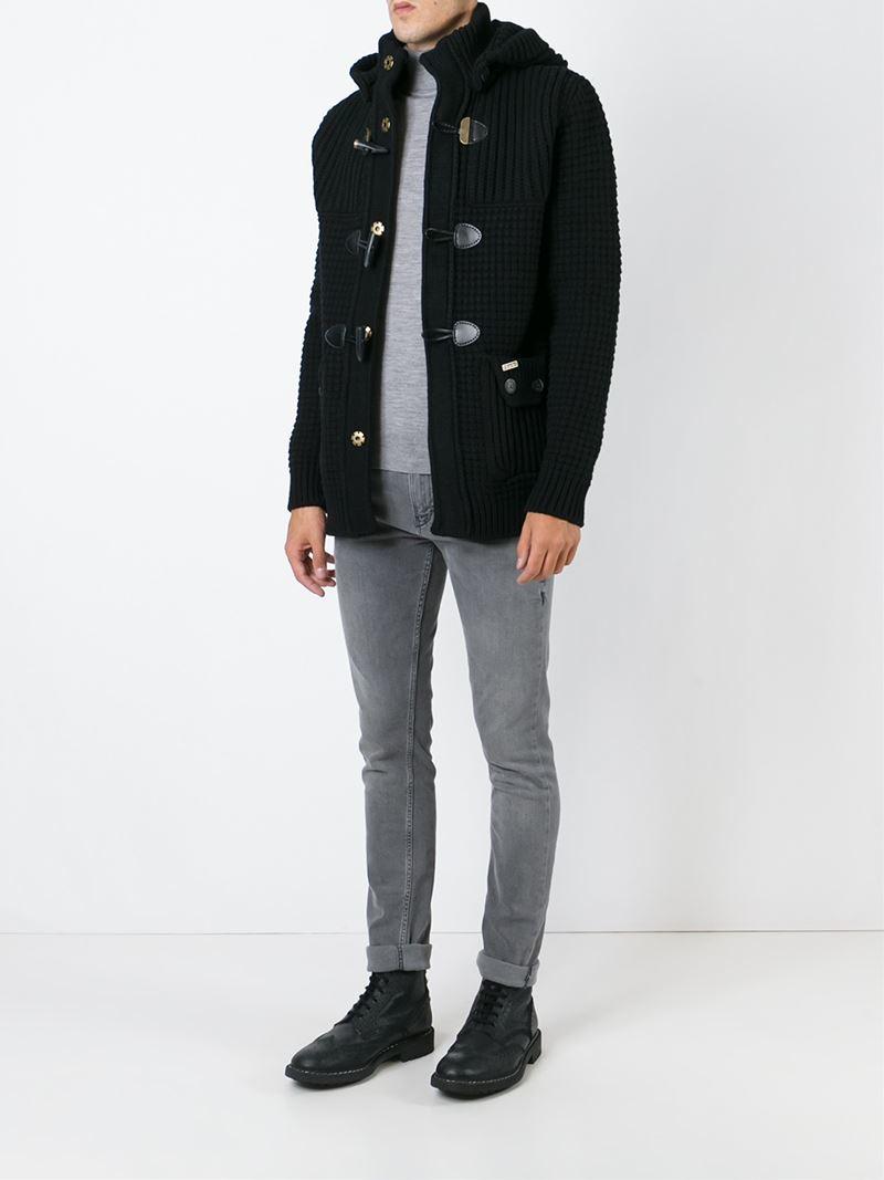Bark Knitted Duffle Coat in Black for Men   Lyst