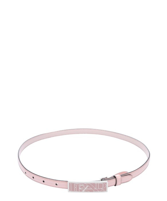 Prada Orchid Patent Leather Logo Buckle Skinny Belt in Pink | Lyst