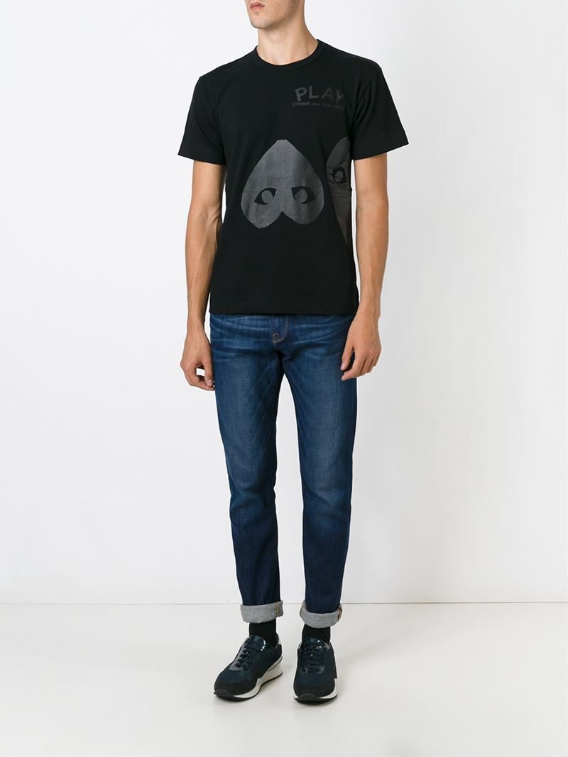 Play Comme Des Gar Ons Heart Logo Print T Shirt In Black