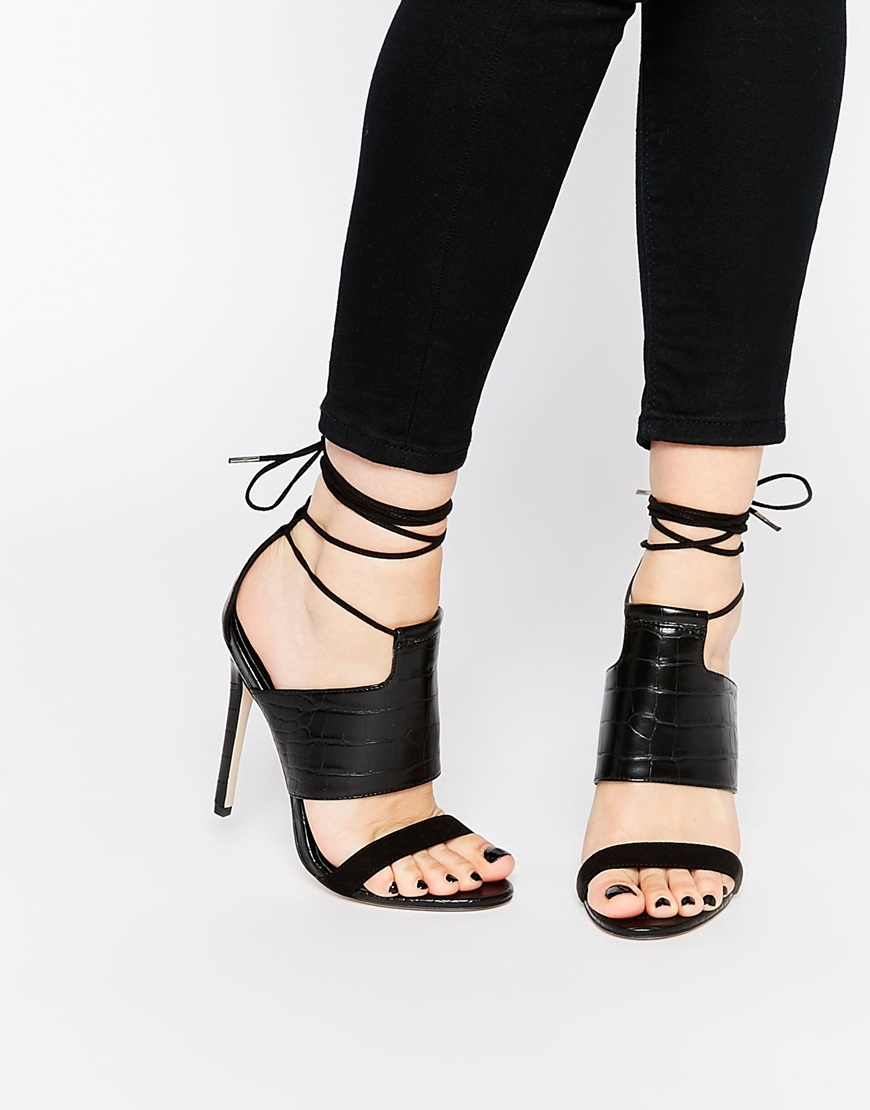 b60ea8a1bb2a Lyst - ASOS Hendricks Lace Up Heeled Sandals in Black