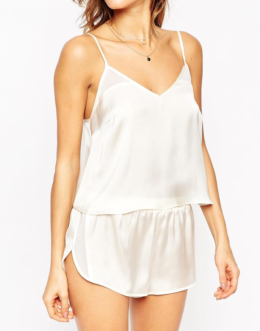 ASOS Satin Cami & Short Pyjama Set in Ivory (White) - Lyst