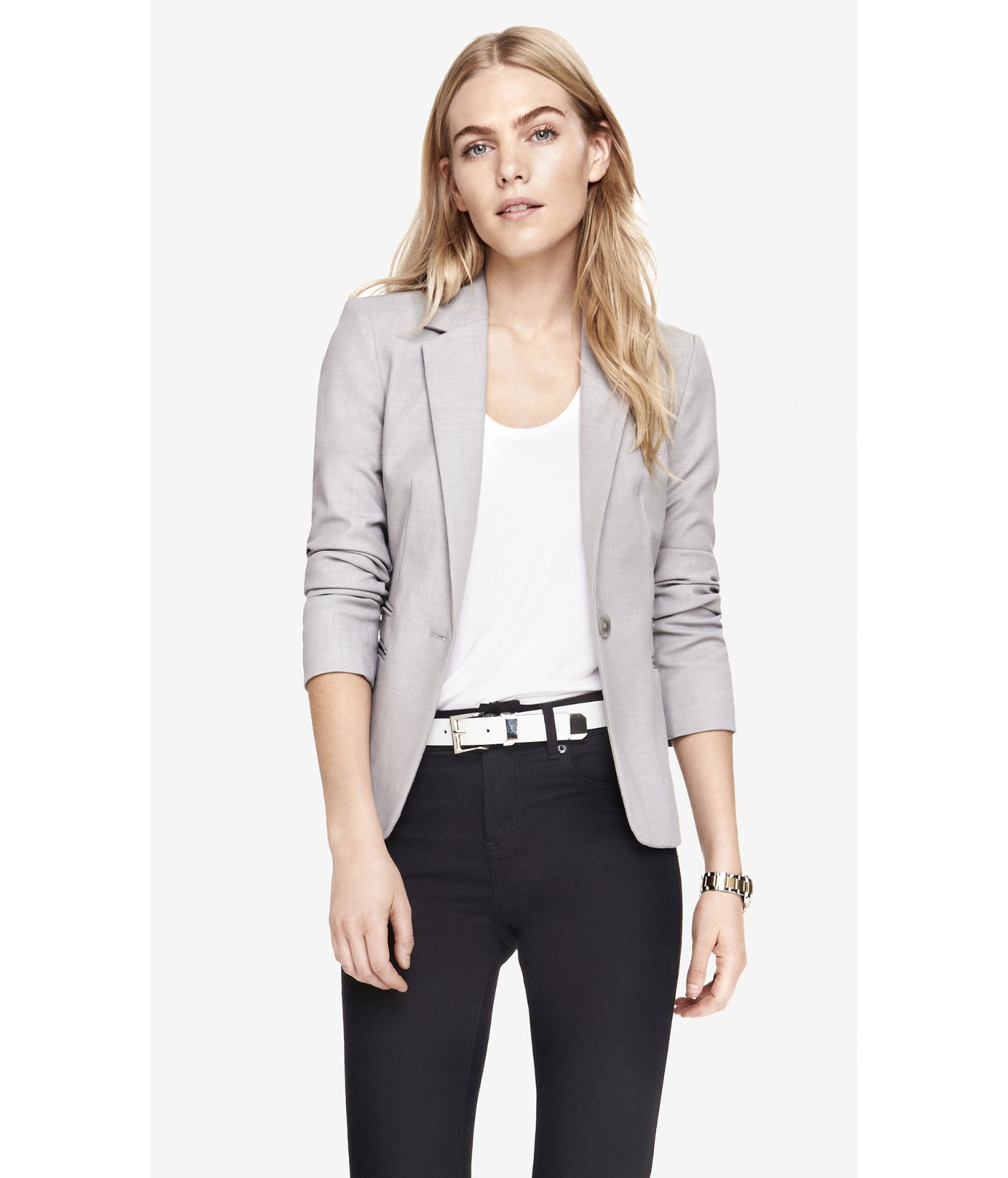 Express 24 Inch One Button Jacket in Gray | Lyst