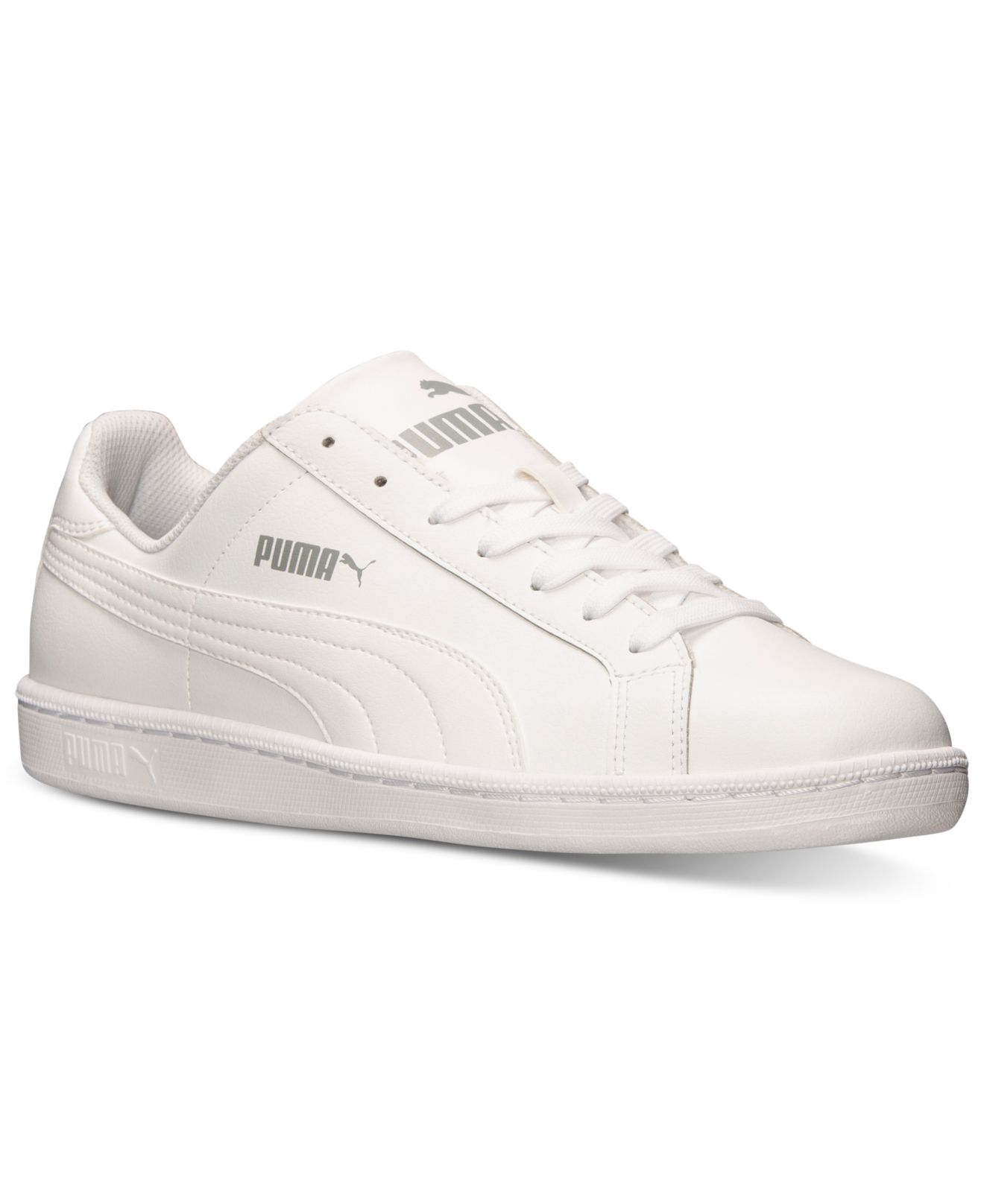 puma men 39 s smash leather casual sneakers from finish line in white for men lyst. Black Bedroom Furniture Sets. Home Design Ideas