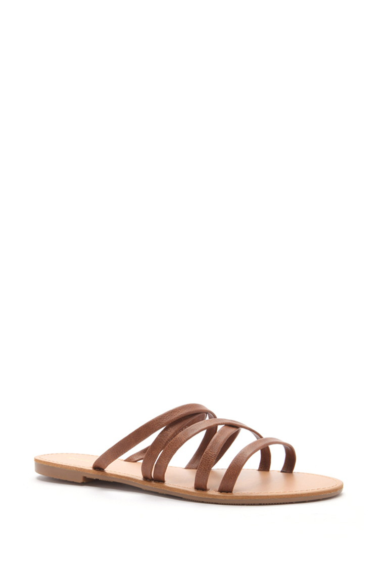 7d0f4c05d10b Forever 21 Crisscross Faux Leather Sandals in Brown - Lyst