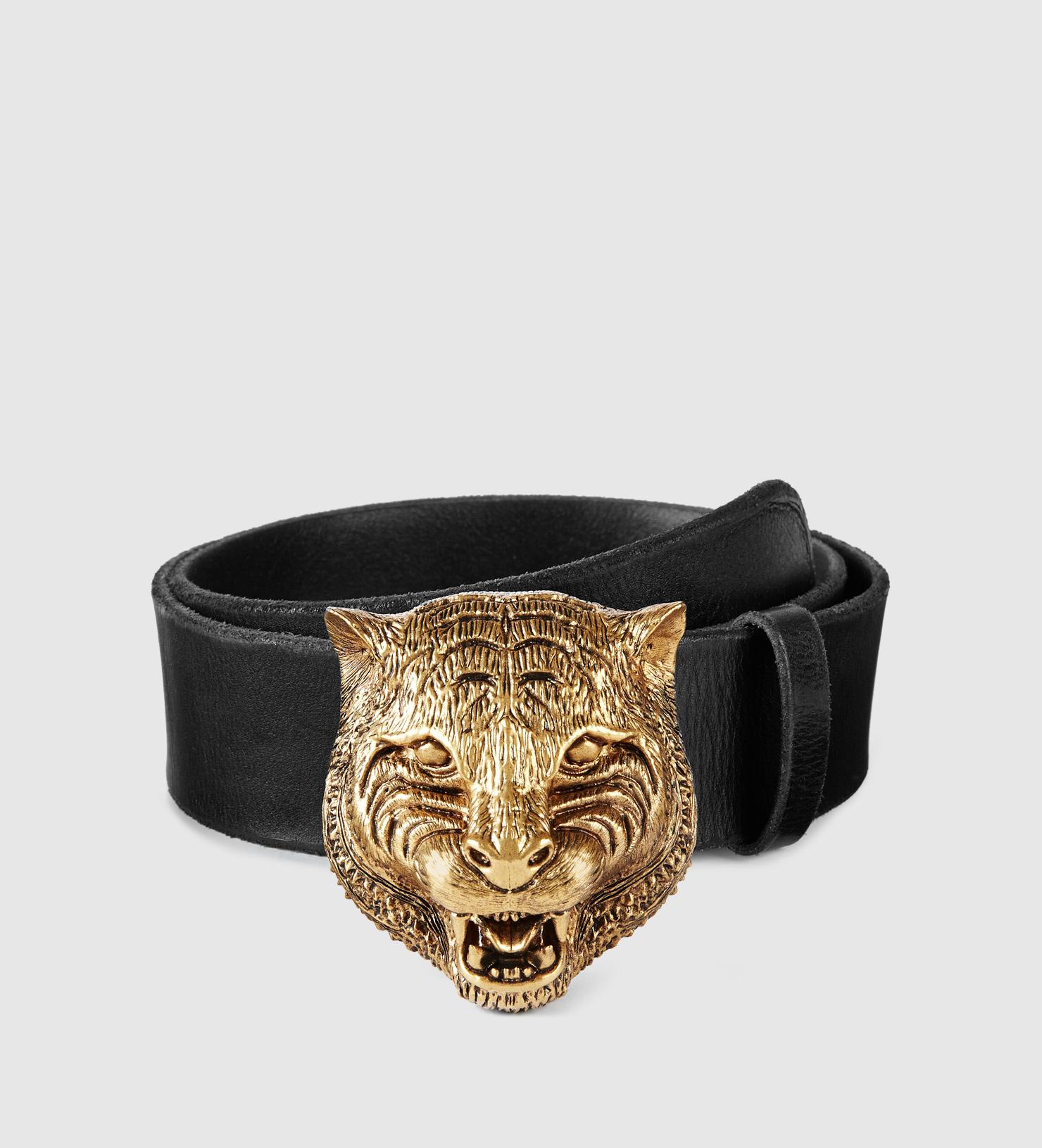 Lyst - Gucci Leather Belt With Feline Buckle in Metallic
