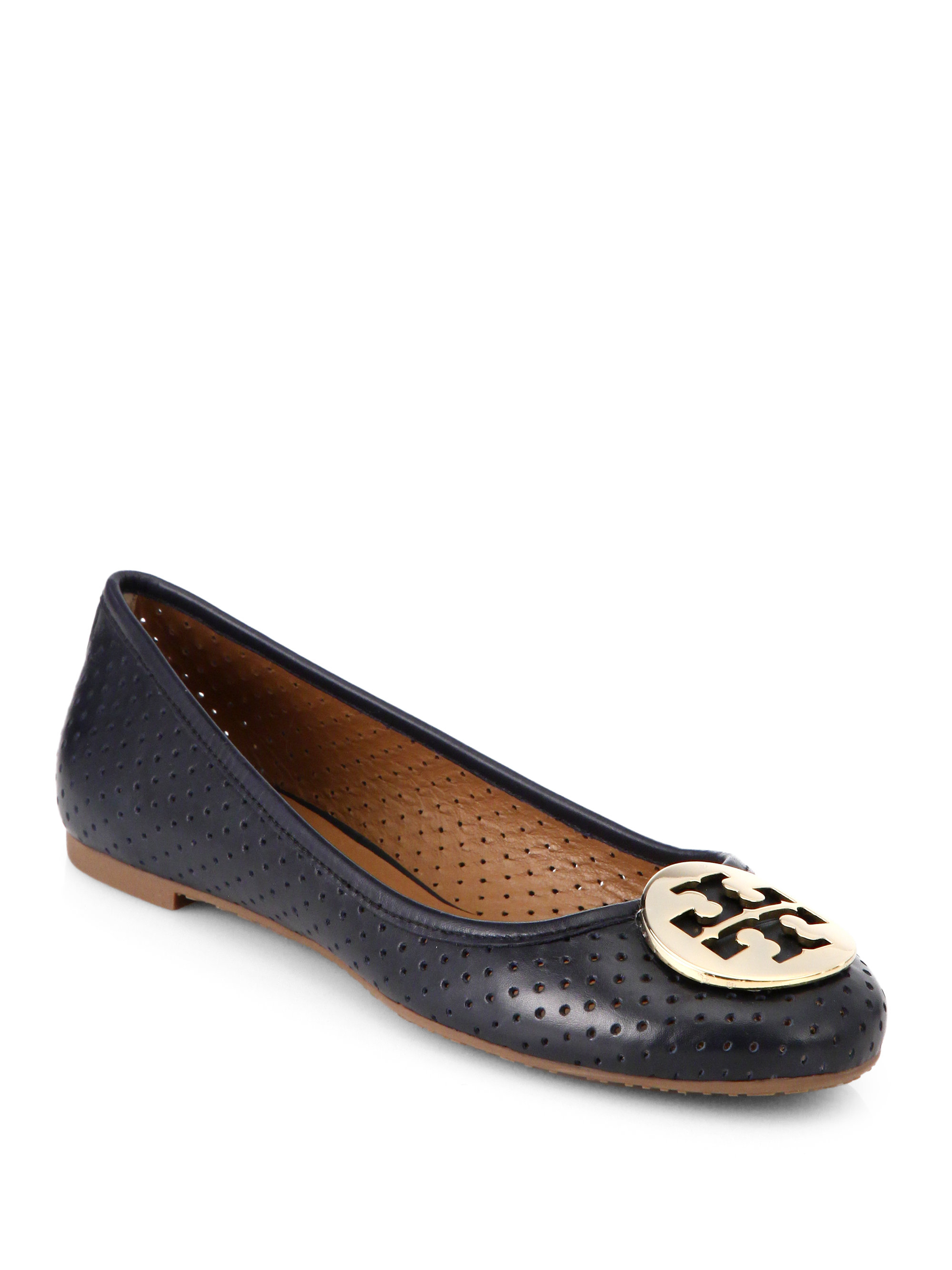Tory Burch Reva Perforated Leather Ballet Flats In Blue Lyst