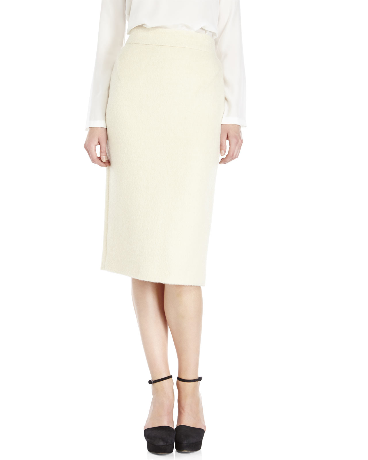 Raoul Ivory Wool Pencil Skirt in White | Lyst