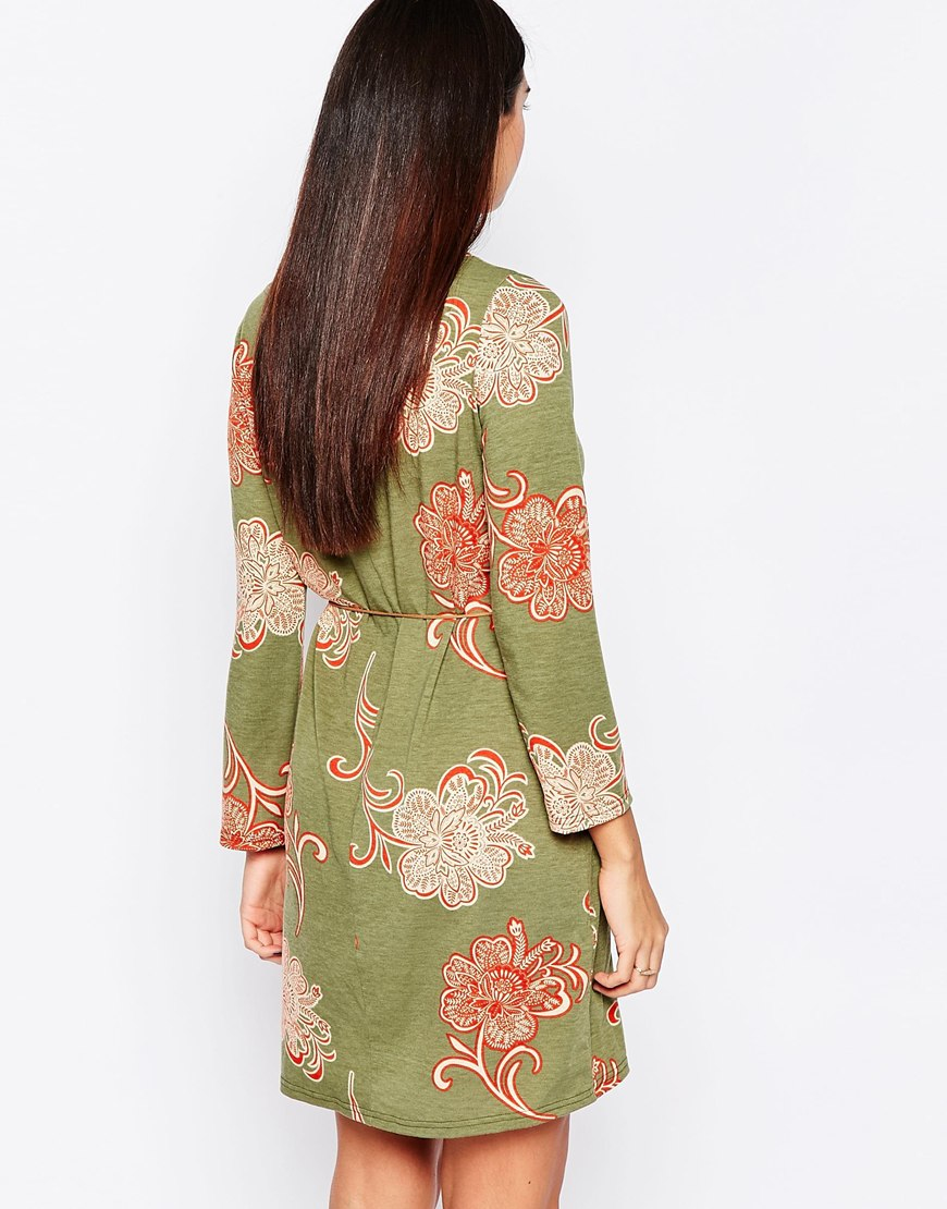 club l shift dress with feather tie belt in green lyst