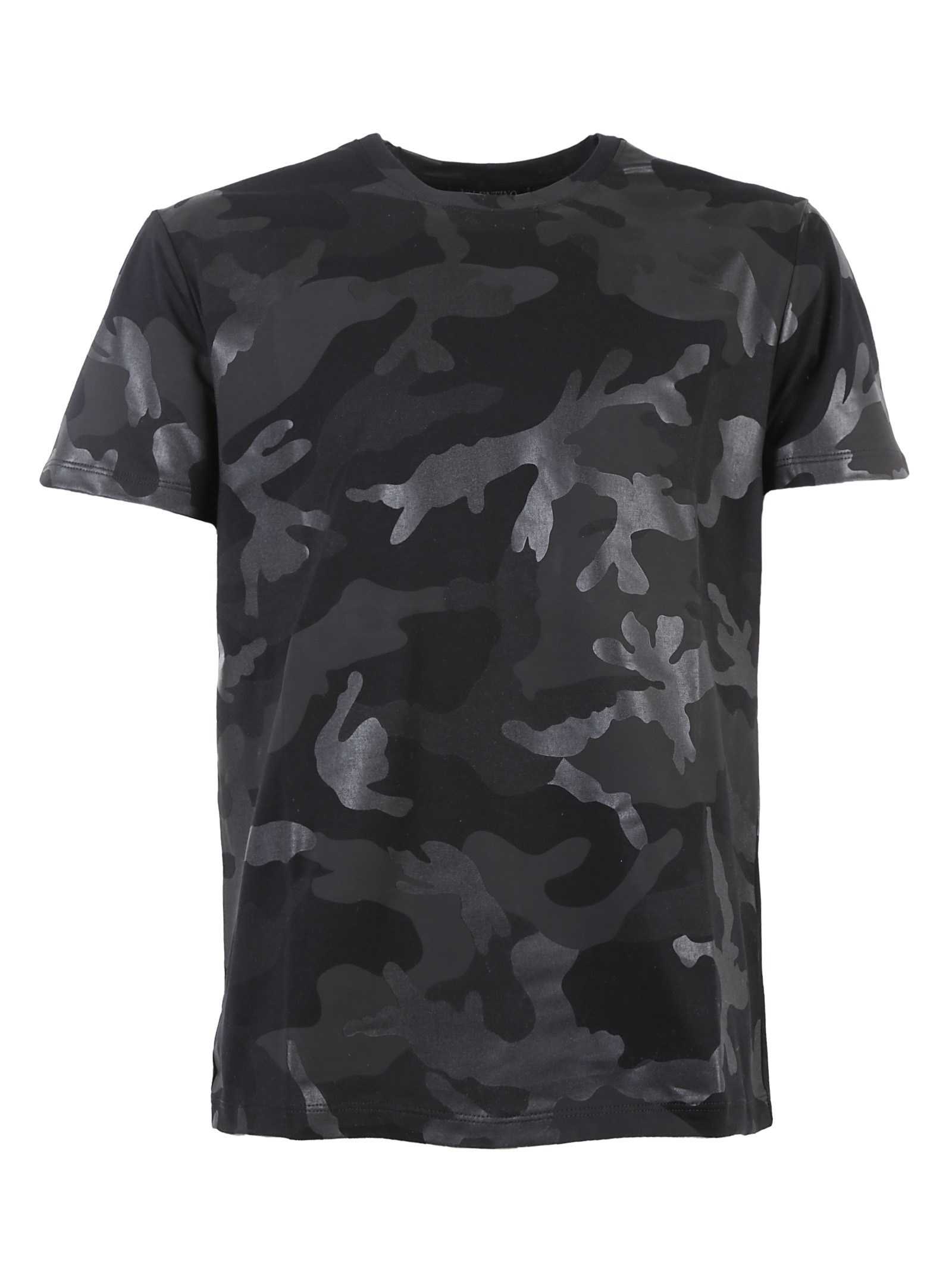 Valentino Tonal Camouflage T Shirt In Gray For Men Black
