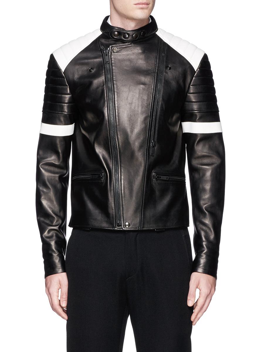 Alexander Mcqueen Contrast Leather Biker Jacket in Black for Men - Lyst 068f12596d0