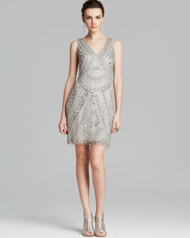 aidan mattox dress sleeveless v neck beaded in silver lyst