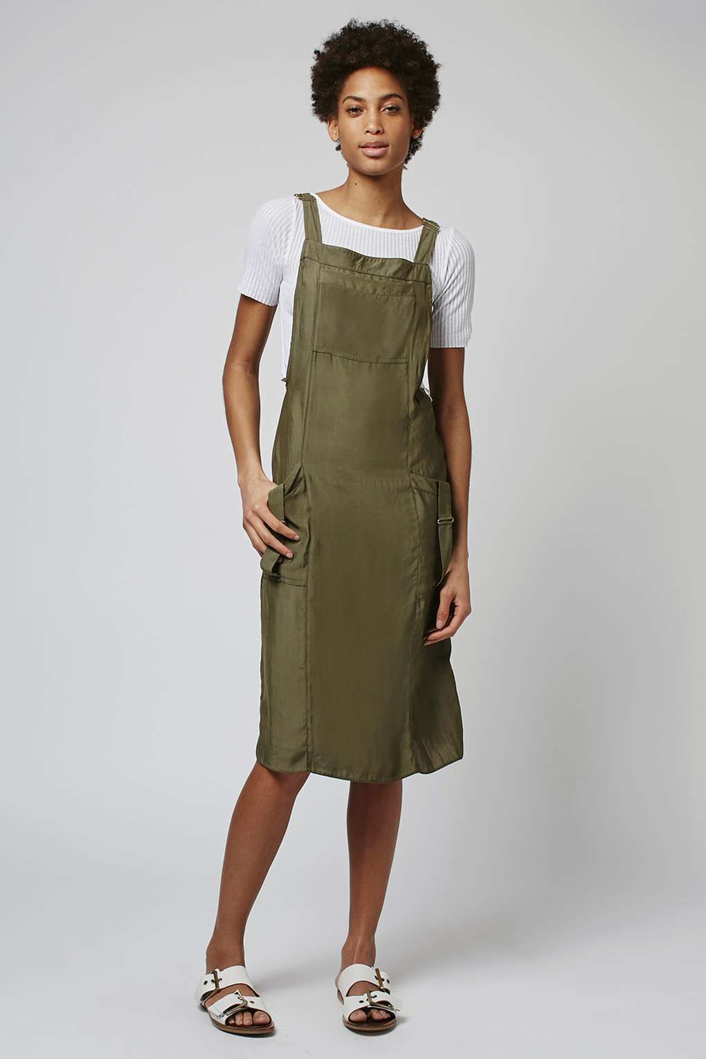 Topshop utility dungaree dress in natural lyst for Womens denim shirts topshop