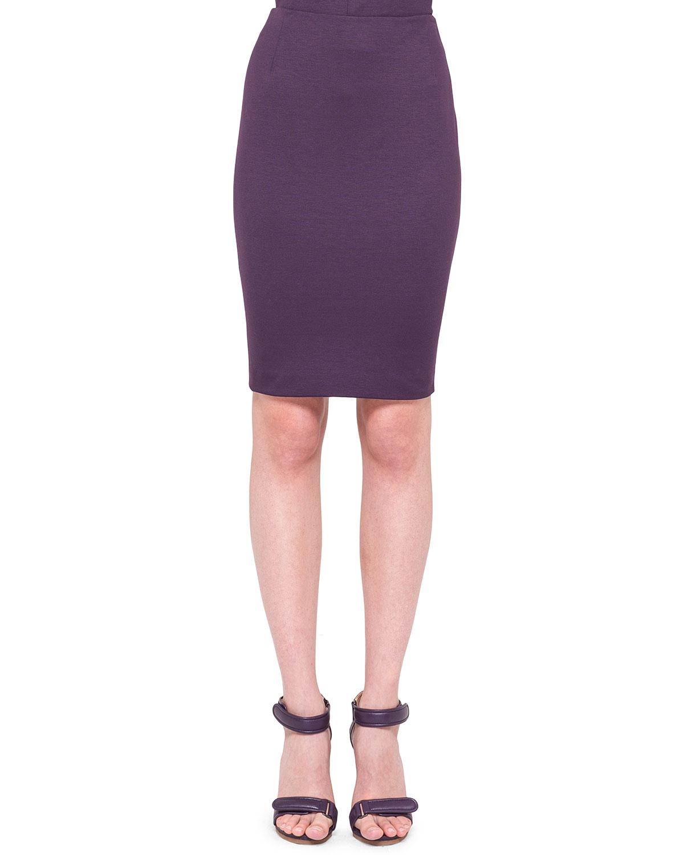 akris punto back zip jersey pencil skirt in purple lyst