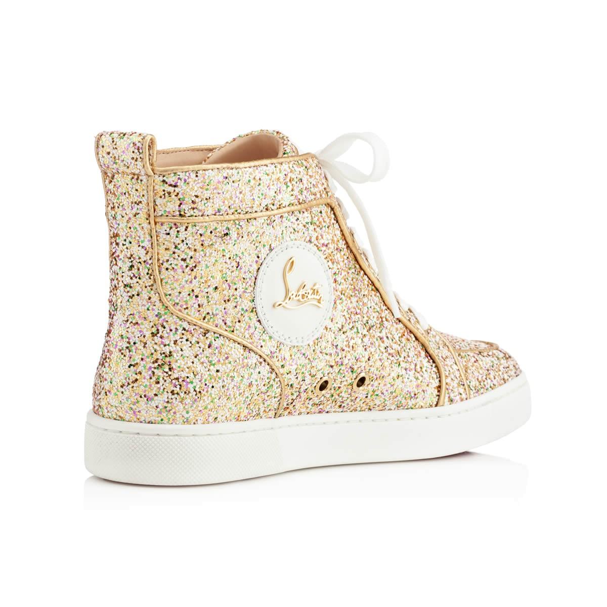 louboutin gold glitter sneakers