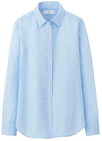 Uniqlo premium linen long sleeve shirt in blue lyst for Uniqlo premium t shirt