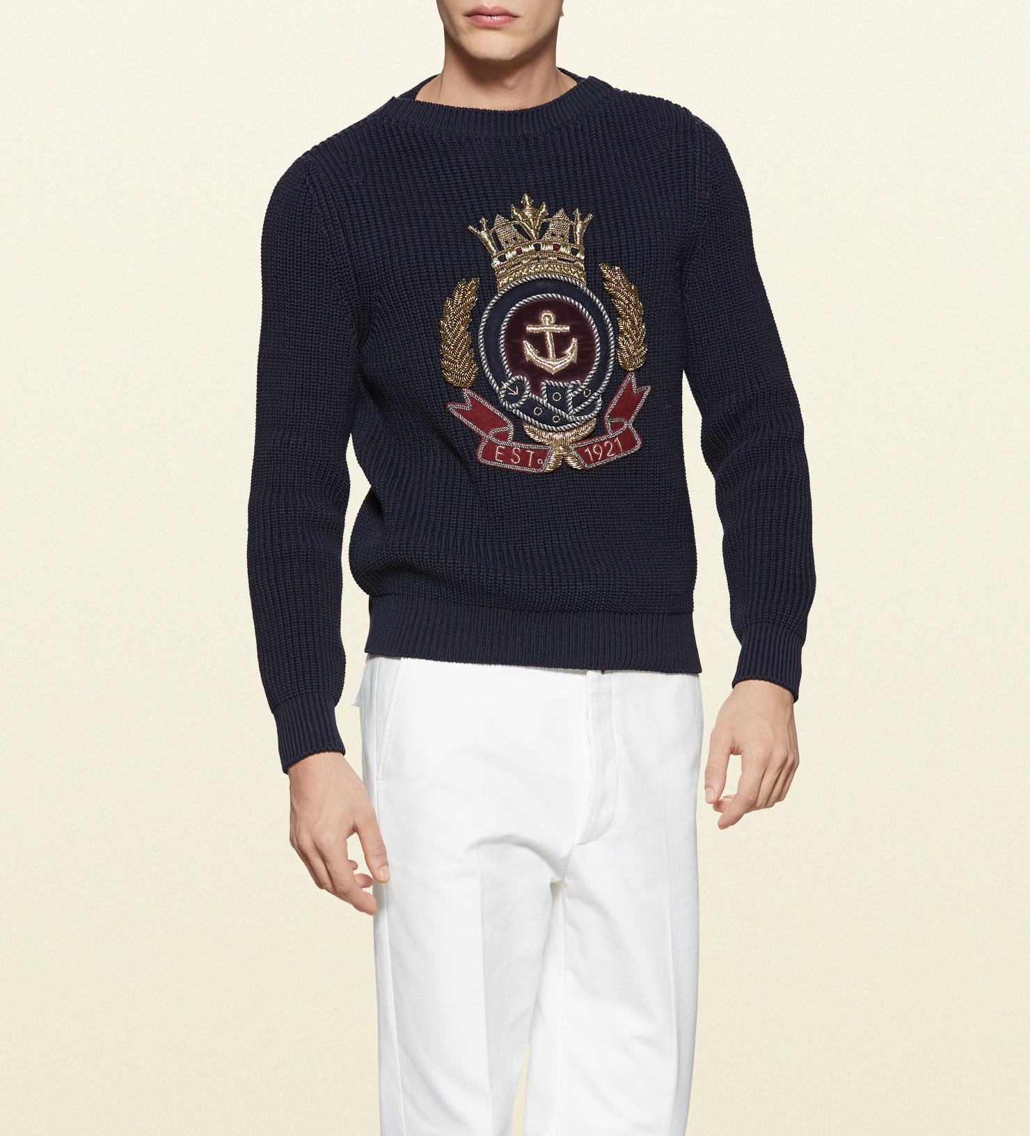 lyst gucci medium rib cotton blend crew neck sweater with anchor