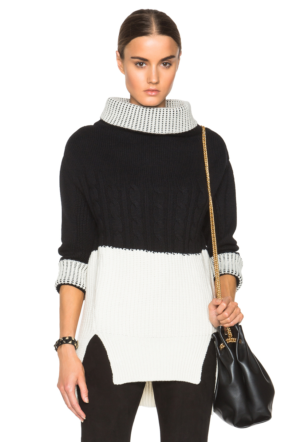 Prabal gurung Nepalese Cashmere Bi Color Sweater in Black | Lyst
