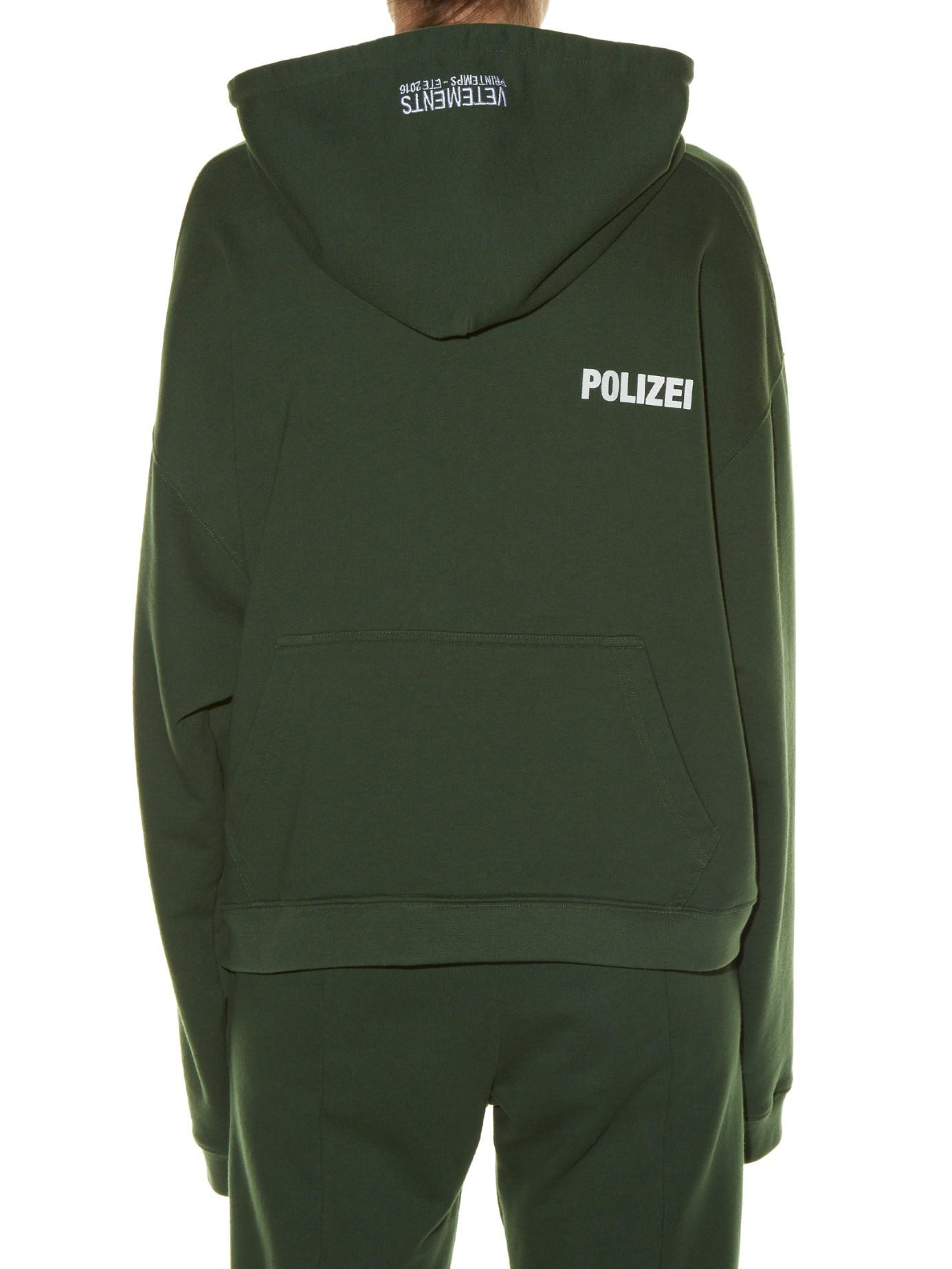 Lyst Vetements Hooded Polizei Print Sweatshirt In Green