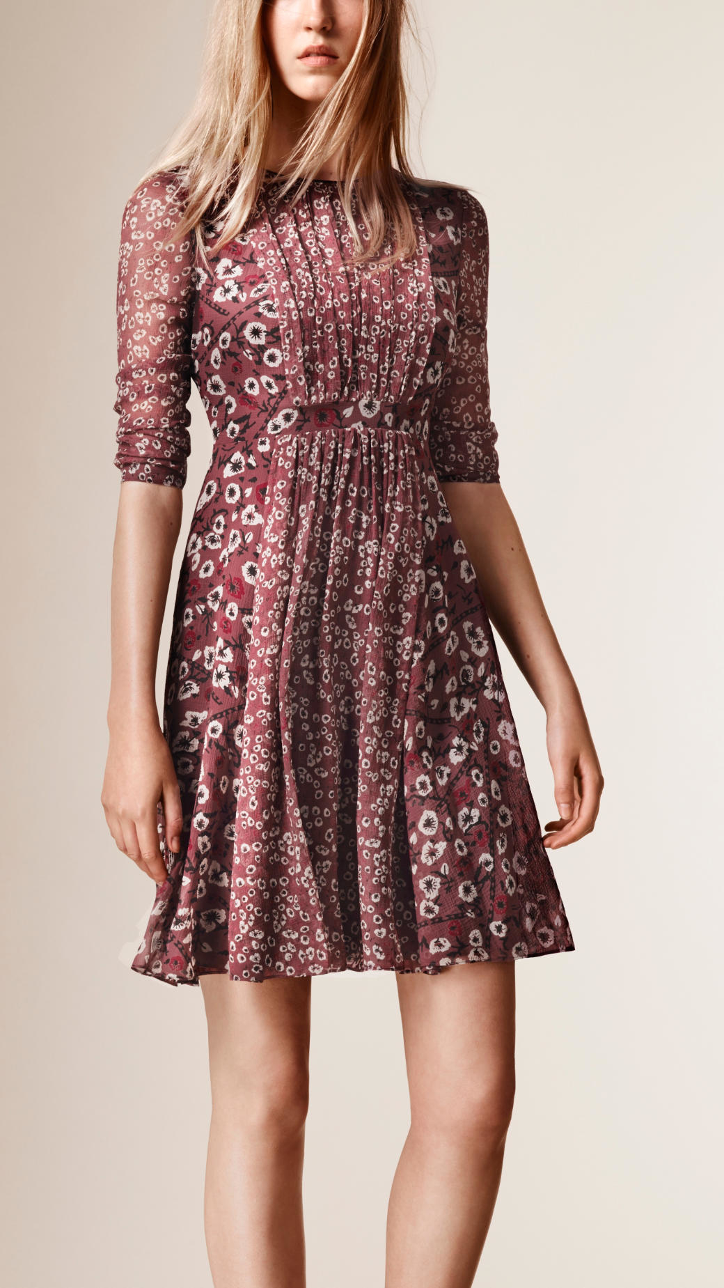 Lyst Burberry Floral Print Silk Crepe Dress In Pink