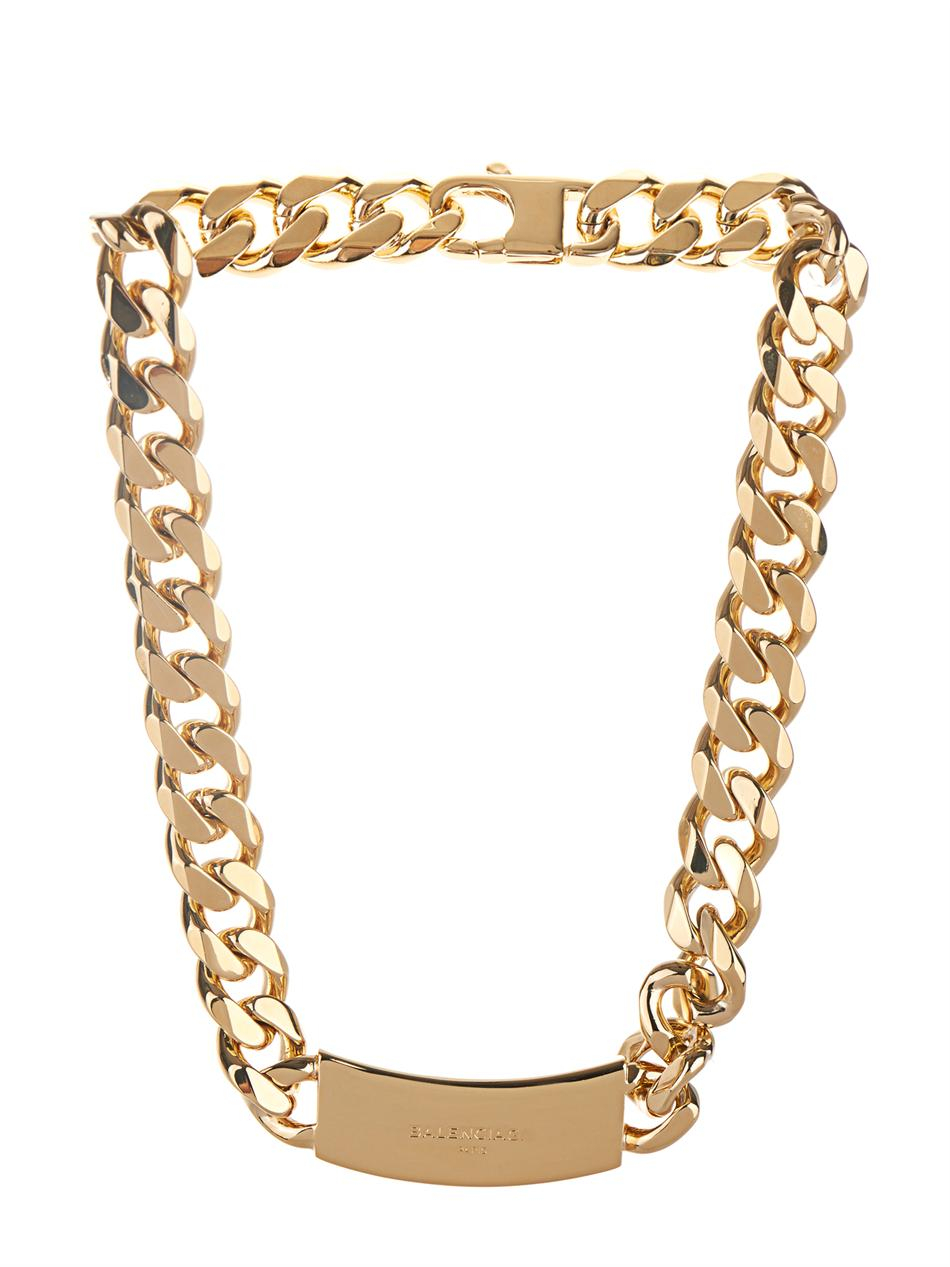 Lyst Balenciaga Arena Stud Chain Necklace In Metallic