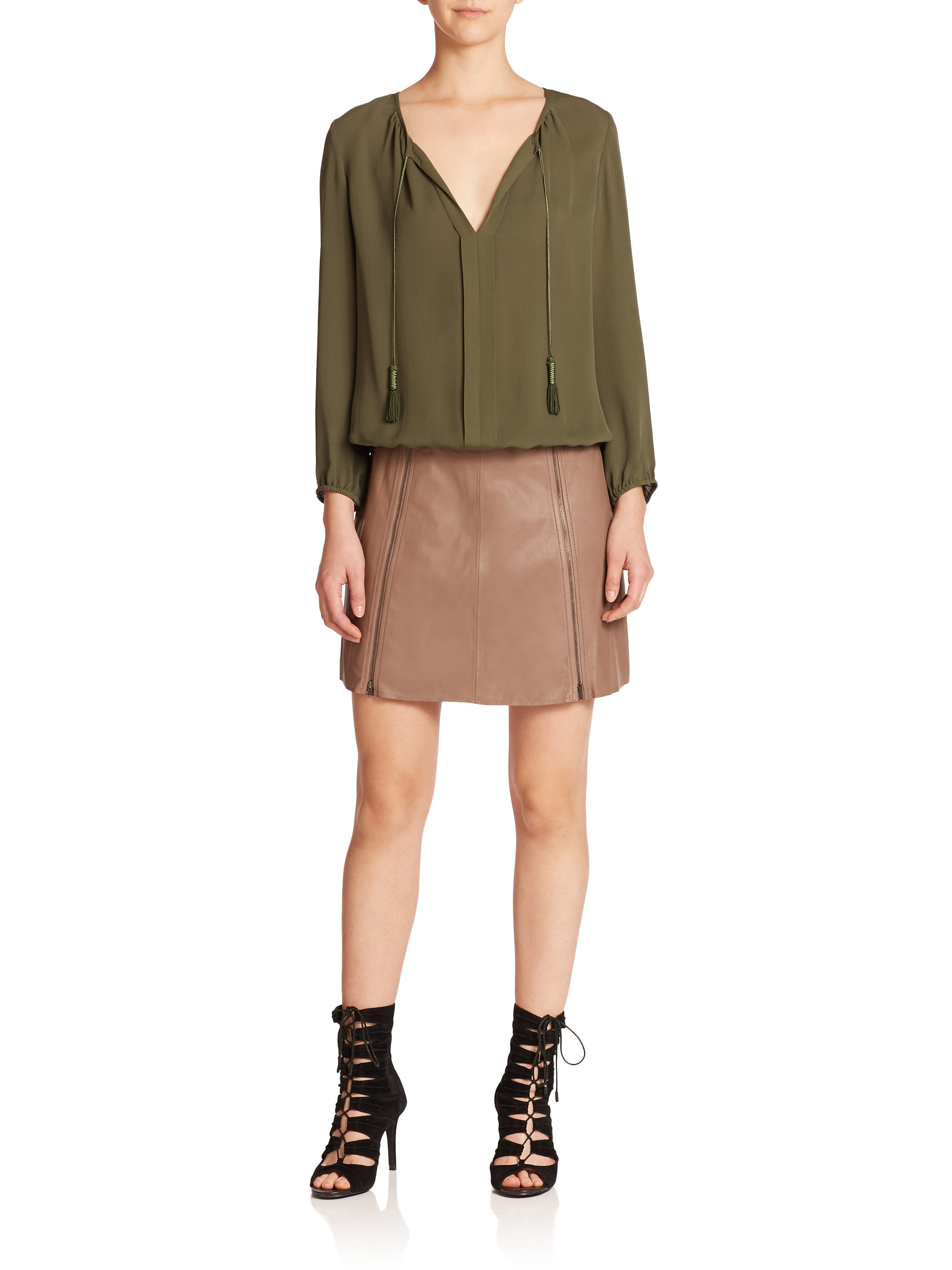 joie loula leather zip skirt in lyst