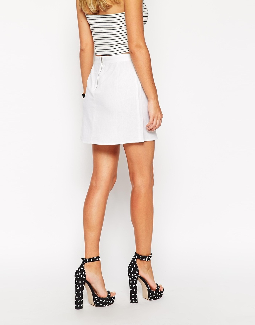 Asos A-line Linen Mini Skirt in White | Lyst