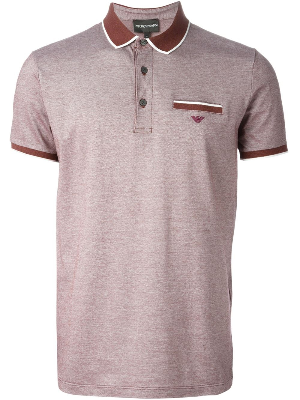 Emporio armani pocket polo shirt in red for men lyst for Two pocket polo shirt