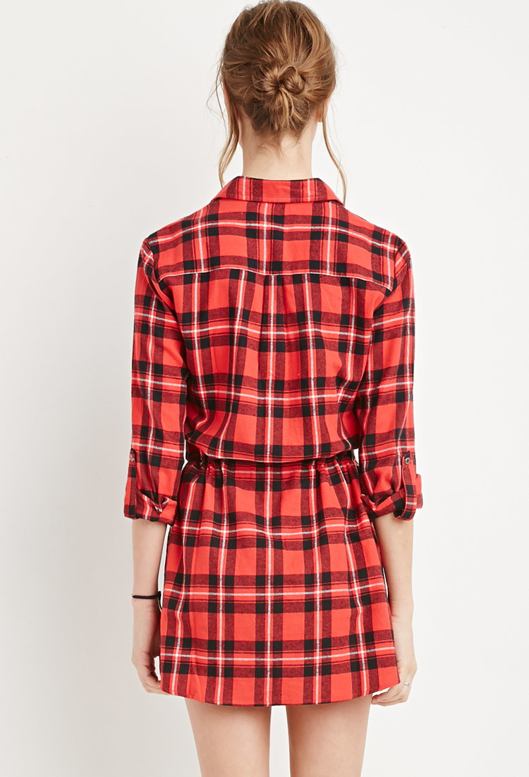 Forever 21 plaid flannel shirt dress in red lyst for Red plaid dress shirt