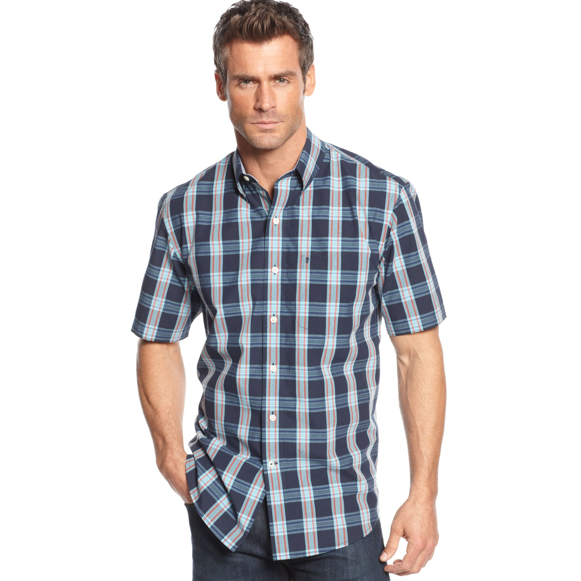 lyst izod big and tall shortsleeve plaid shirt in blue