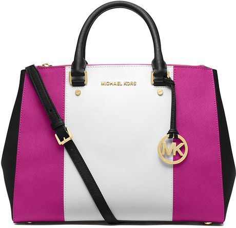 michael michael kors jet set leather large dressy tote bag in pink. Black Bedroom Furniture Sets. Home Design Ideas