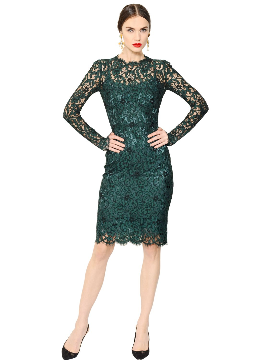 Dolce Amp Gabbana Cordonetto Lace Dress In Green Lyst