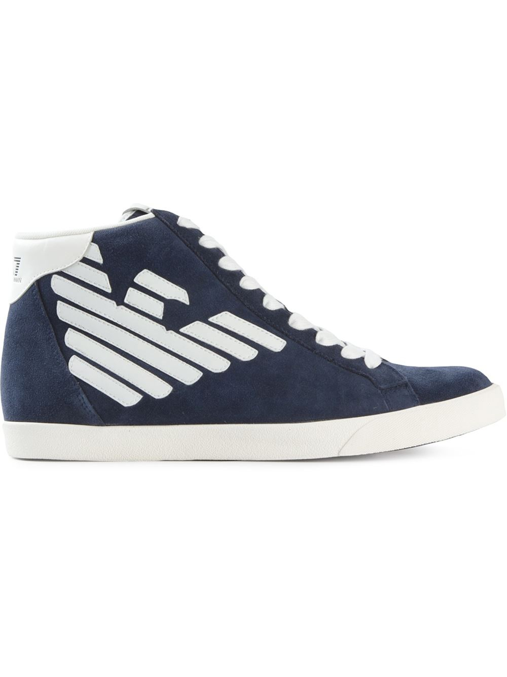 Emporio Armani Logo Patch High Top Sneakers In Blue For