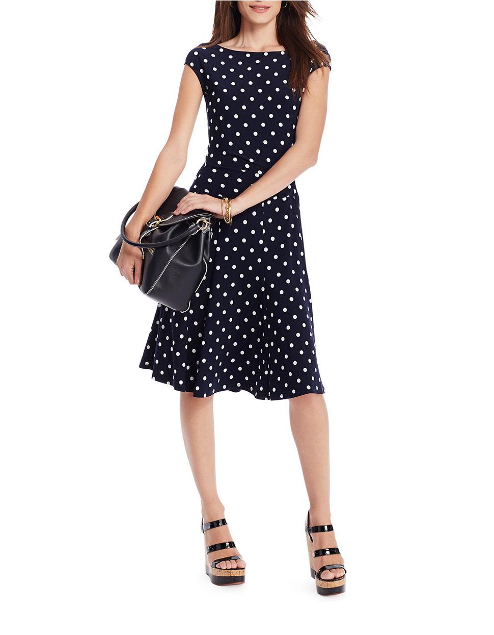 Lauren by ralph lauren Polka-Dot Jersey Dress in Blue ...
