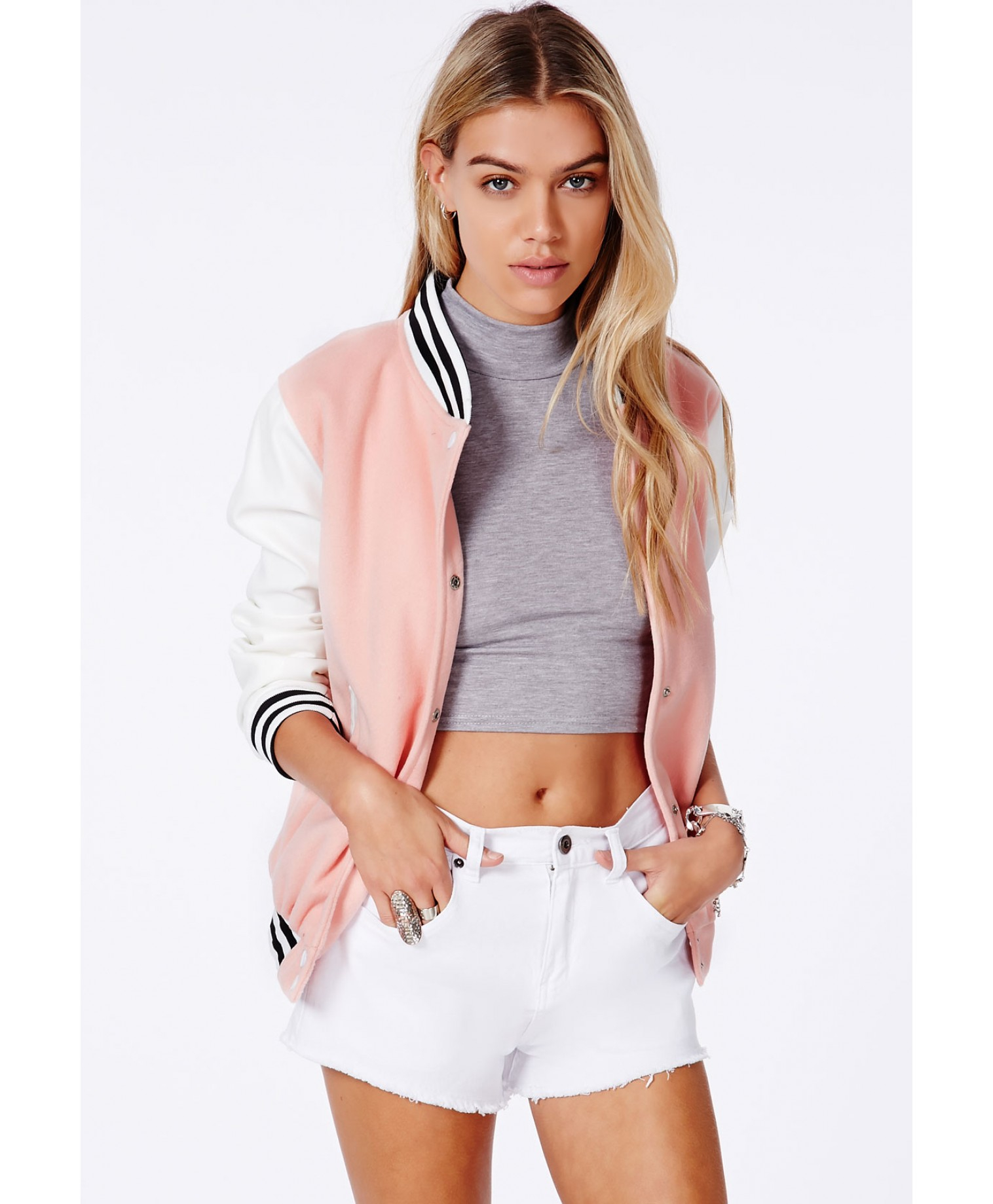 Missguided Lenica Bomber Jacket With Contrast Sleeves In