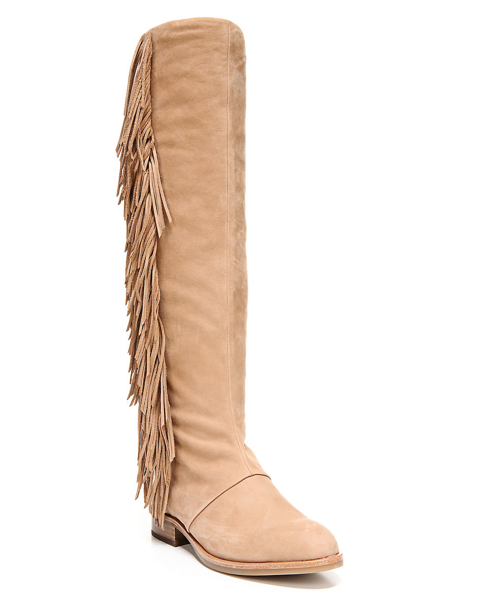 Sam edelman Josephine Fringe-trimmed Boots in Natural | Lyst