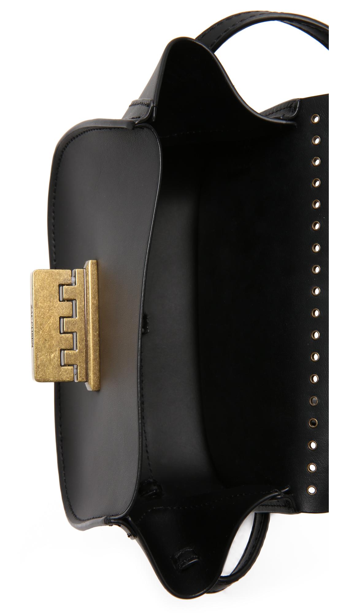 Zac Zac Posen Leather Eartha Micro Accordion Cross Body Bag With Grommets in Black