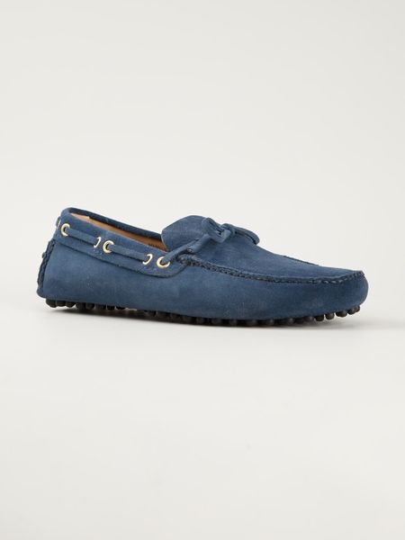 Car Shoe Bow Detail Driving Shoe in Blue for Men