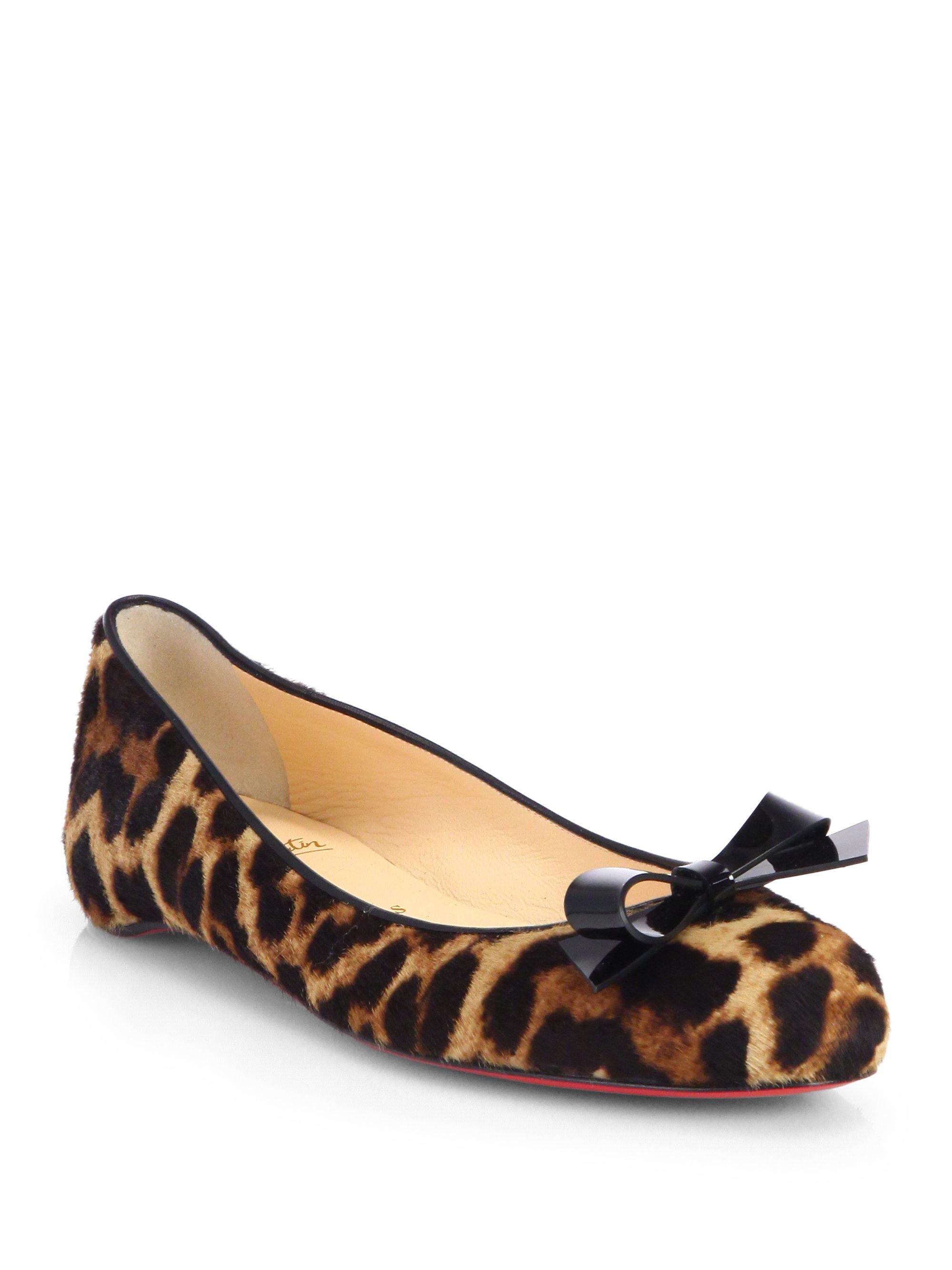 Christian louboutin Simplenodo Leopard-Print Calf Hair Ballet ...