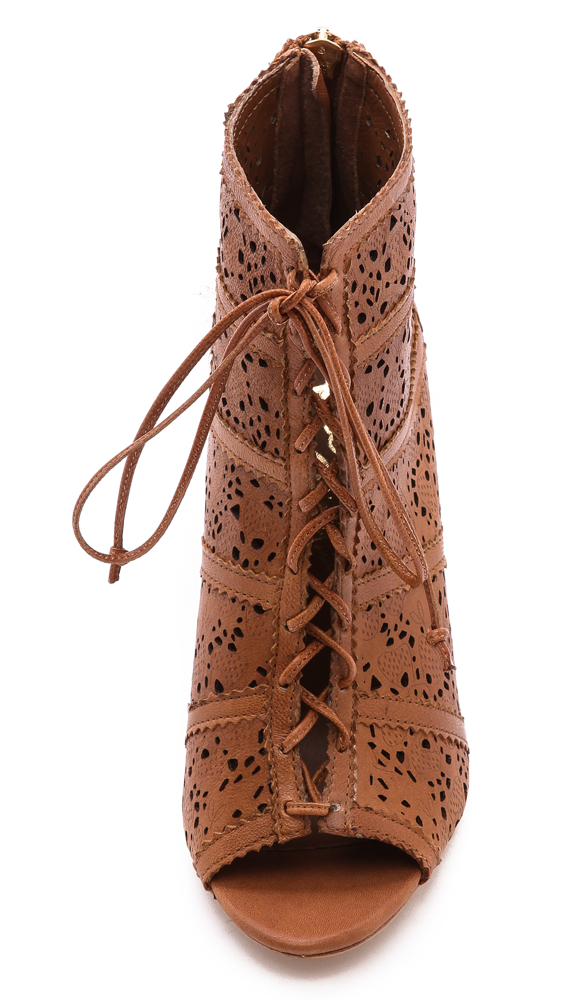 Alice + Olivia Alice Olivia Gale Laser Cut Lace Up Booties Caramel in Brown
