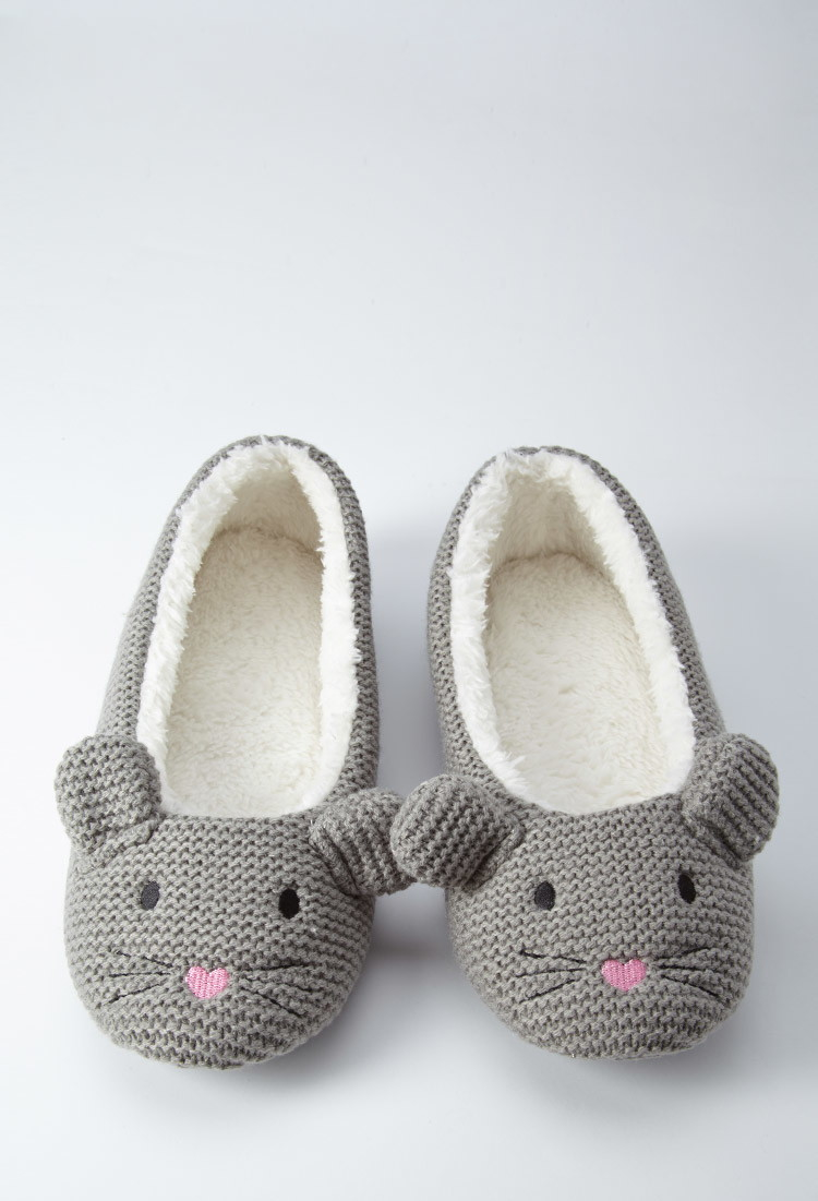 Forever 21 Mouse Slippers in Grey (Gray